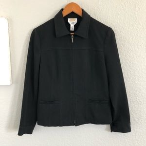 Talbots Petites Stretch Black Zip Up Blazer Jacket